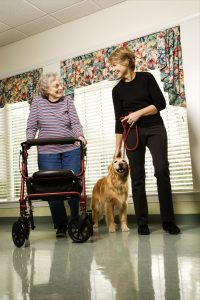 Older Woman With Middle Aged Woman Walking Dog