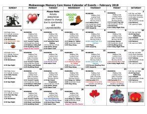 Mukwonago Memory Care Calendar