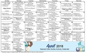 April 2018 Calendar SCS WK