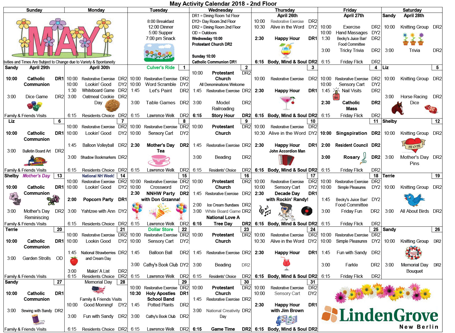 May 2018 NB SNF Floor 2 Calendar