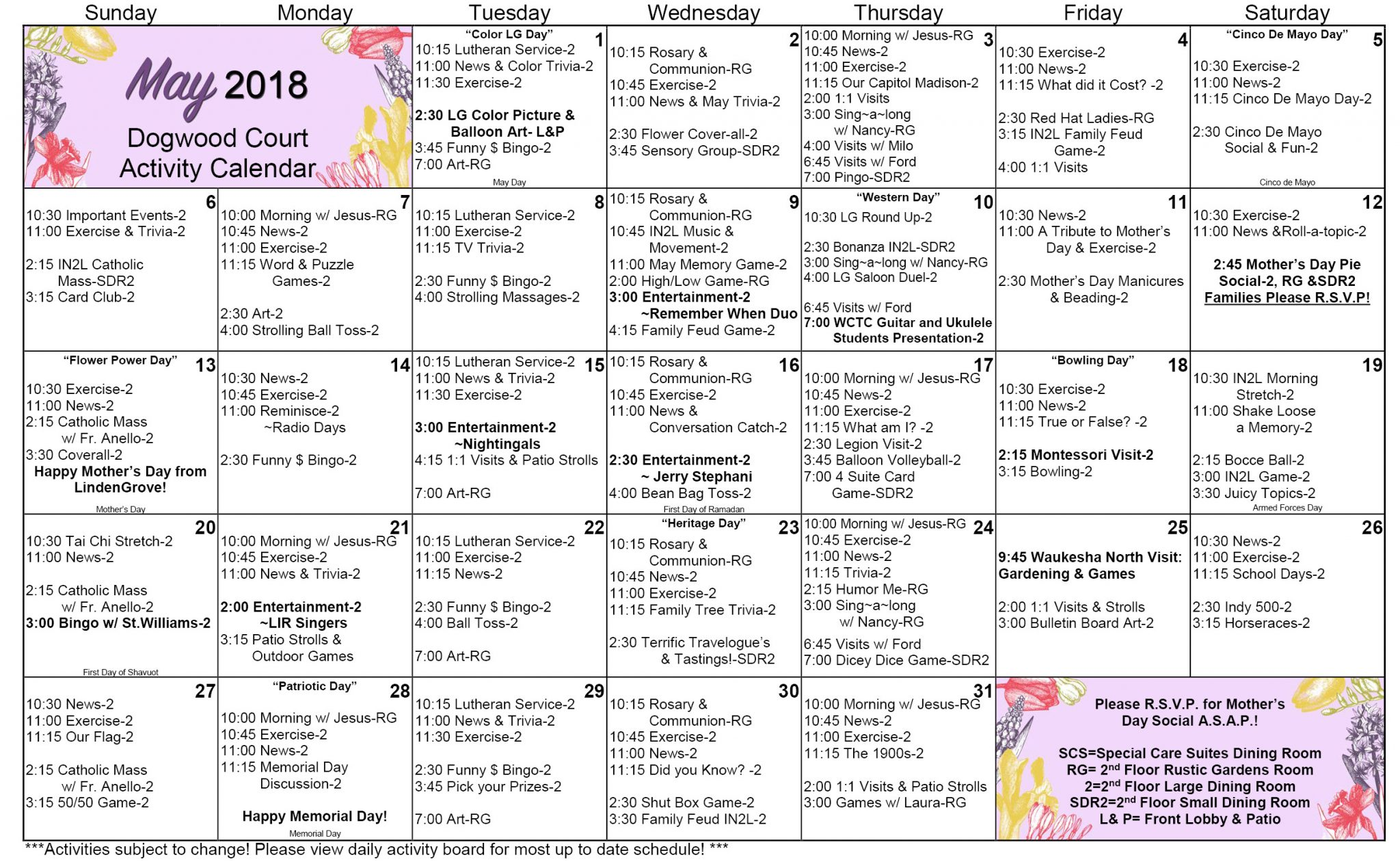 May 2018 WK Dogwood Calendar