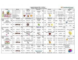 1st Floor Activity Calendar August 2018