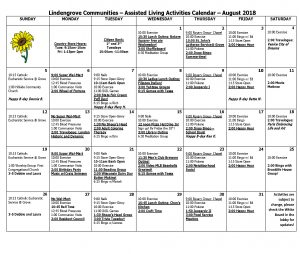 Assisted Living Calendar August 2018