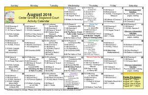 Cedar Grove And Dogwood Activities Calendar August 2018