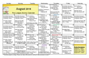 Lodges Activities Calendar August 2018