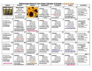 Memory Care Calendar August 2018
