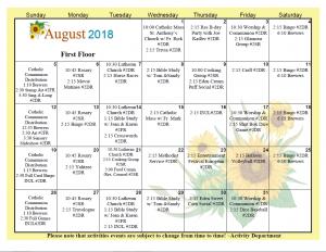 Menomonee Falls First Floor August Calendar 2018