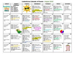 Mukwonago Grove August Activity Calendar 2018