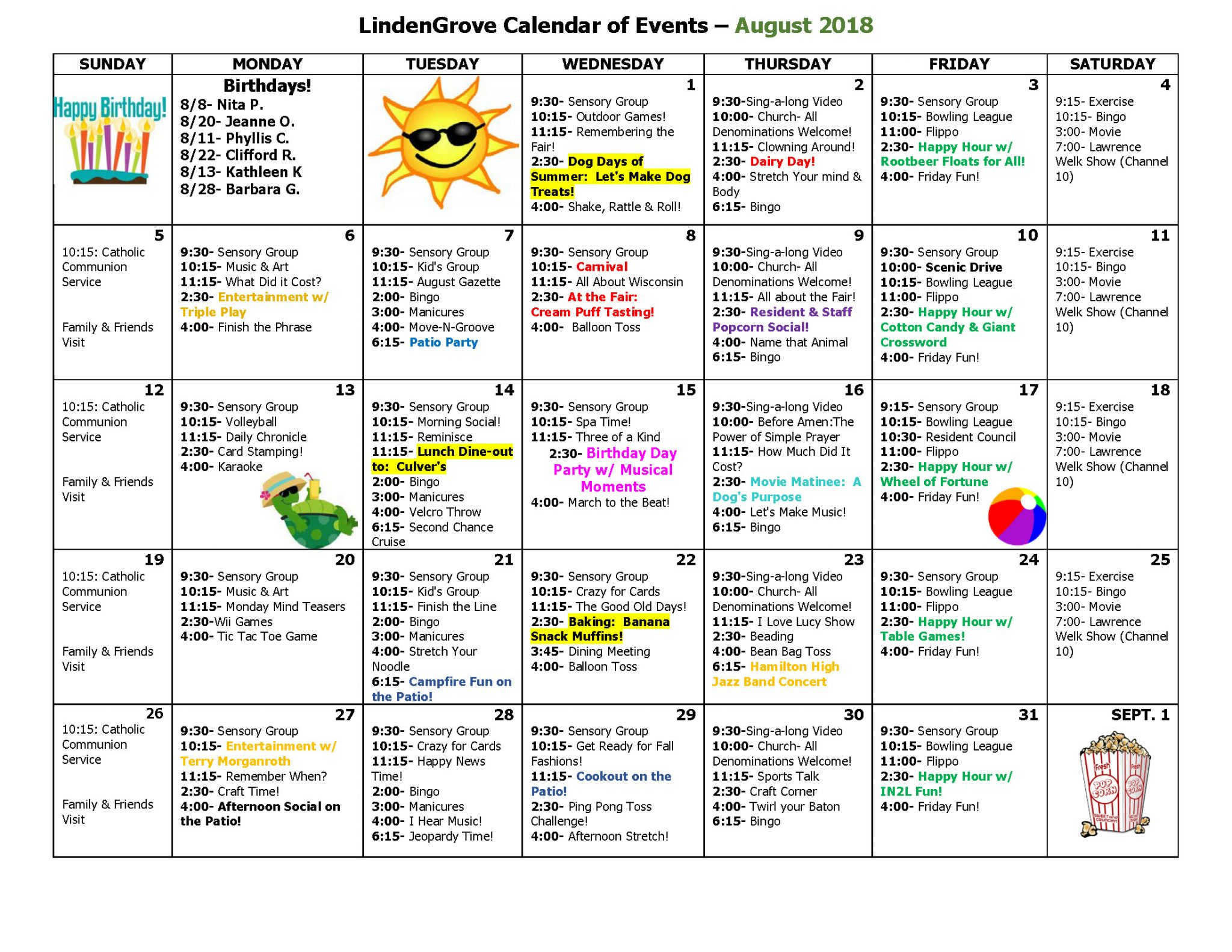 mukwonago grove august activity calendar 2018 lindengrove communities