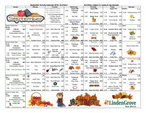 NB 2nd Floor Activity Calendar
