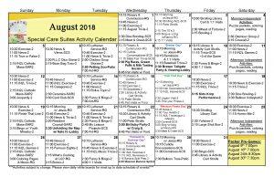 SCS Rehab Activities Calendar August 2018