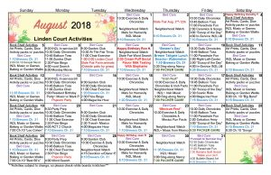 Waukesha Memory Care Activities Calendar August 2018