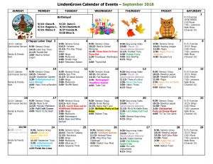 Mukwonago Grove September Calendar 2018