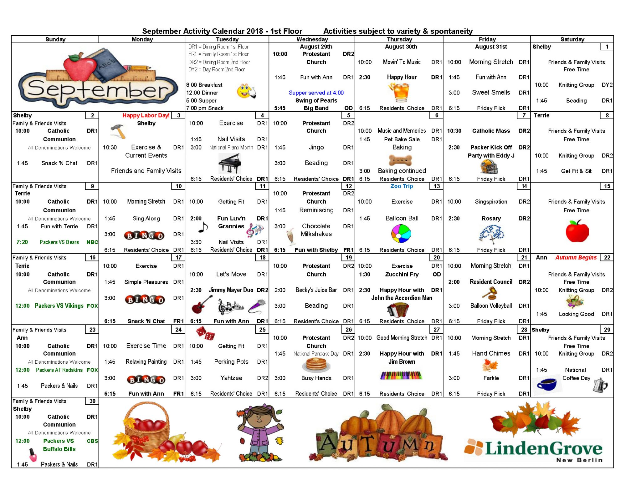 NB 1st Floor Activity Calendar
