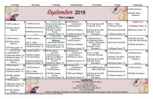September 2018 Large Lodges Schedule