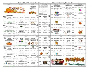 2nd Floor Activity Calendar