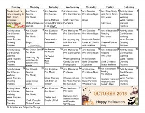 New Berlin Memory Care Calendar October